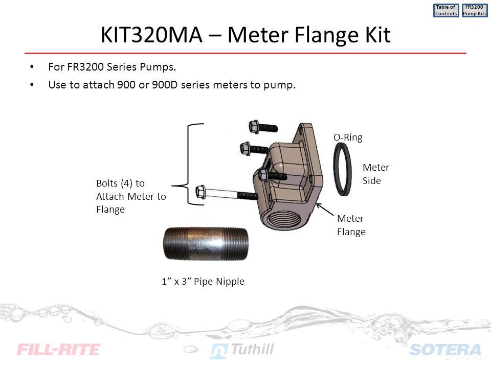 KIT320MA – Meter Flange Kit For FR3200 Series Pumps. Use to attach 900 or 900D series meters to pump. Table of Contents FR3200 Pump Kits O-Ring Meter