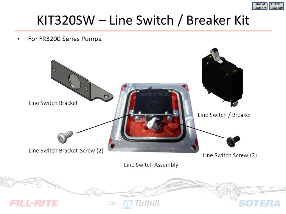 KIT320SW – Line Switch / Breaker Kit For FR3200 Series Pumps. Table of Contents FR3200 Pump Kits Line Switch / Breaker Line Switch Bracket Line Switch