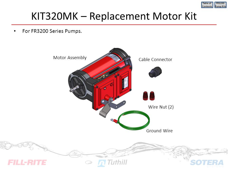 KIT320MK – Replacement Motor Kit For FR3200 Series Pumps. Table of Contents FR3200 Pump Kits Motor Assembly Cable Connector Wire Nut (2) Ground Wire