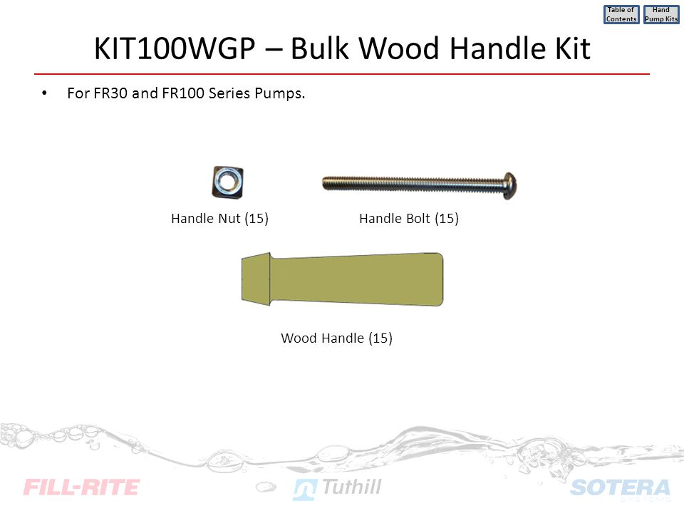 KIT100WGP – Bulk Wood Handle Kit For FR30 and FR100 Series Pumps. Table of Contents Hand Pump Kits Handle Nut (15) Wood Handle (15) Handle Bolt (15)
