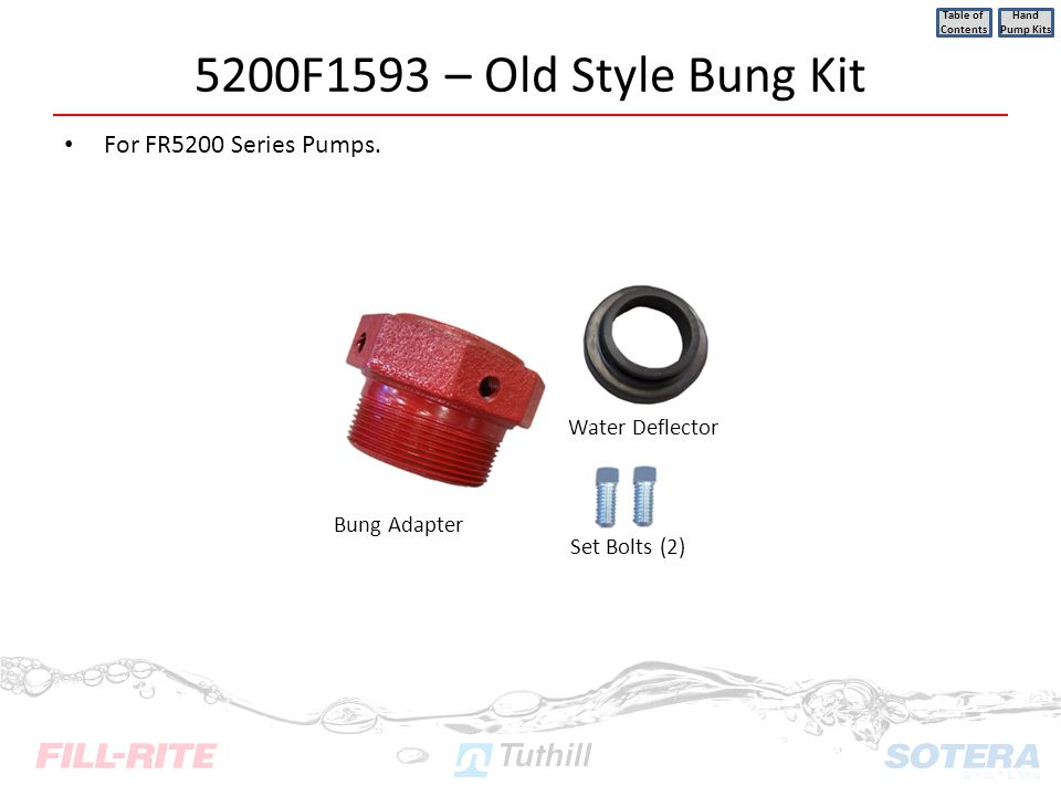 5200F1593 – Old Style Bung Kit For FR5200 Series Pumps. Table of Contents Hand Pump Kits Set Bolts (2) Bung Adapter Water Deflector
