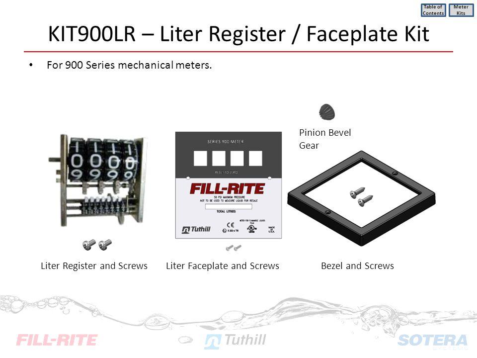 KIT900LR – Liter Register / Faceplate Kit For 900 Series mechanical meters. Table of Contents Meter Kits Pinion Bevel Gear Liter Register and ScrewsLi