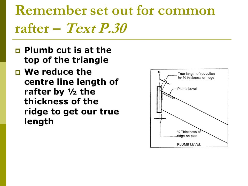 Birdsmouth has a maximum cut out of one third the rafter depth Level bevel is shown here at base of triangle Back of birdsmouth, is outside of frame and if you take a vertical line up, this is where it meets the x – y line X-Y LINE