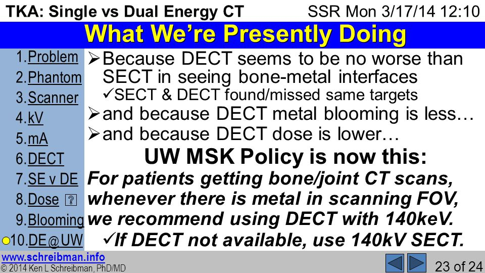 © 2014 Ken L Schreibman, PhD/MD www.schreibman.info 23 of 24 TKA: Single vs Dual Energy CT 1.ProblemProblem 2.PhantomPhantom 3.ScannerScanner 4.kVkV 5