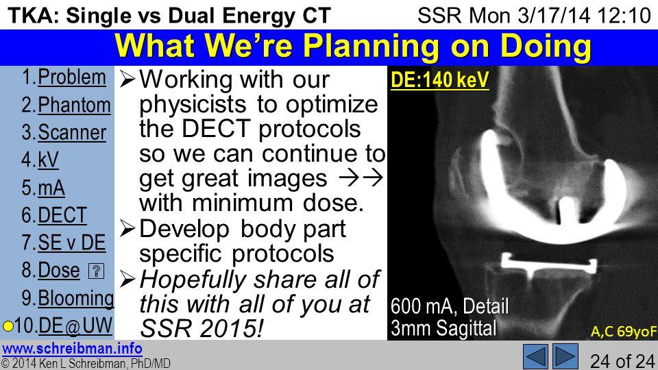 © 2014 Ken L Schreibman, PhD/MD www.schreibman.info 24 of 24 TKA: Single vs Dual Energy CT 1.ProblemProblem 2.PhantomPhantom 3.ScannerScanner 4.kVkV 5