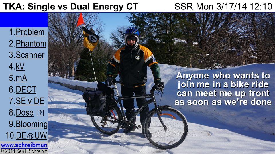 © 2014 Ken L Schreibman, PhD/MD www.schreibman.info 25 of 24 TKA: Single vs Dual Energy CT 1.ProblemProblem 2.PhantomPhantom 3.ScannerScanner 4.kVkV 5