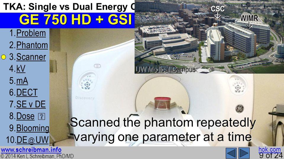 © 2014 Ken L Schreibman, PhD/MD www.schreibman.info 9 of 24 TKA: Single vs Dual Energy CT 1.ProblemProblem 2.PhantomPhantom 3.ScannerScanner 4.kVkV 5.mAmA 6.DECTDECT 7.SE v DESE v DE 8.DoseDose 9.BloomingBlooming 10.DE @ UWDE @ UW SSR Mon 3/17/14 12:10 GE 750 HD + GSI Scanned the phantom repeatedly varying one parameter at a time hok.comWIMR CSC UW Medical Campus