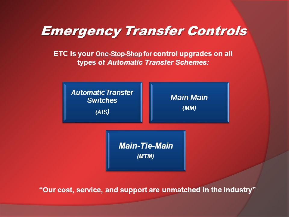 ETC is your One-Stop-Shop for control upgrades on all types of Automatic Transfer Schemes: Emergency Transfer Controls Automatic Transfer Switches (ATS ) Main-Main (MM) Main-Tie-Main (MTM) Our cost, service, and support are unmatched in the industry