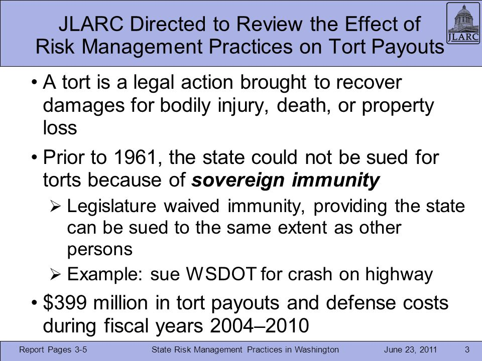 June 23, 2011 WSDOT Applies All Five Principles in its Highway Safety Program State Risk Management Practices in Washington24 Report Page 16
