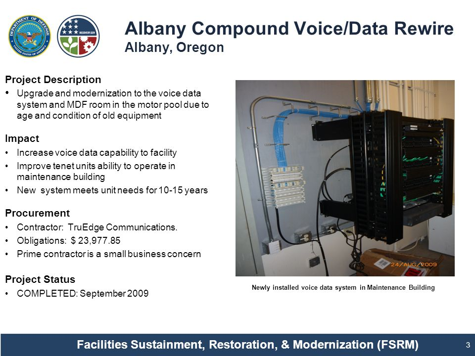Albany Compound Voice/Data Rewire Albany, Oregon 3 Project Description Upgrade and modernization to the voice data system and MDF room in the motor pool due to age and condition of old equipment Impact Increase voice data capability to facility Improve tenet units ability to operate in maintenance building New system meets unit needs for 10-15 years Procurement Contractor: TruEdge Communications.