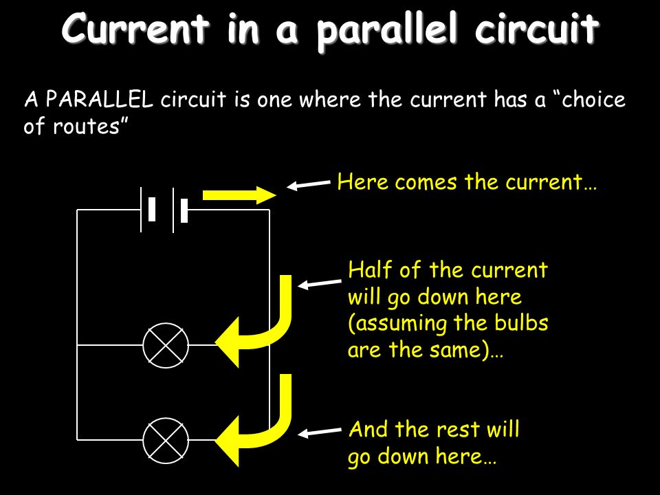 Current in a series circuit If the current here is 2 amps… The current here will be… And the current here will be… In other words, the current in a series circuit is THE SAME at any point 2A
