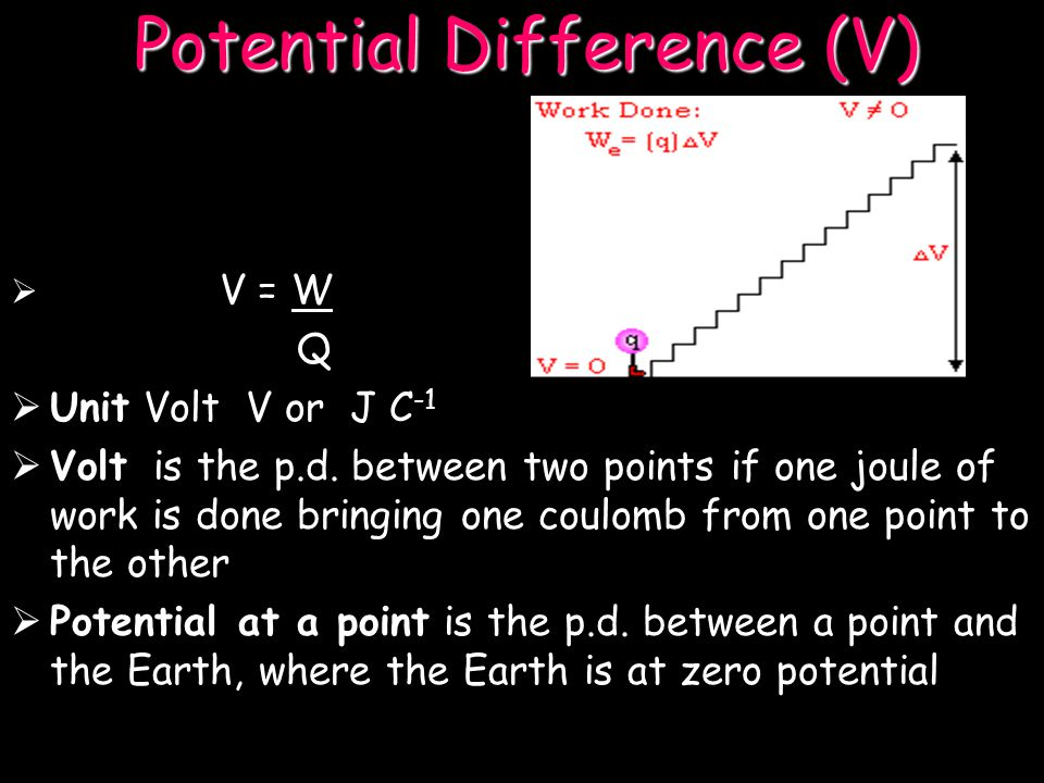 Potential Difference (V) Potential difference is the work done per unit charge to transfer a charge from one point to another (also Voltage) i.e V = W Q