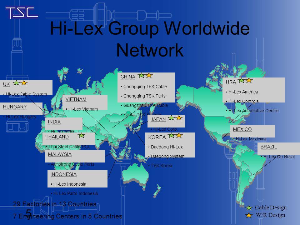 Hi-Lex Group Worldwide Network MEXICO Hi-Lex Mexicana BRAZIL Hi-Lex Do Brazil USA Hi-Lex America Hi-Lex Controls Hi-Lex Automotive Centre UK Hi-Lex Ca