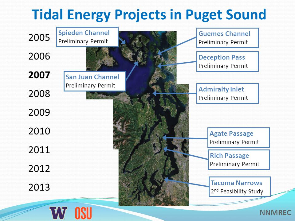 NNMREC Tidal Energy Projects in Puget Sound Tacoma Narrows Preliminary Permit 2005 2006 2007 2008 2009 2010 2011 2012 2013