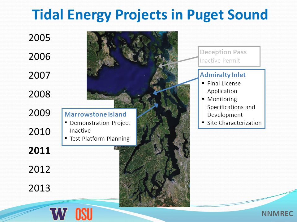 NNMREC Tidal Energy Projects in Puget Sound Admiralty Inlet Draft License Application Monitoring Specifications and Development Site Characterization Deception Pass Inactive Permit Guemes Channel Permit Surrendered Spieden Channel Permit Surrendered Marrowstone Island Demonstration Project Studies Test Platform Proposed