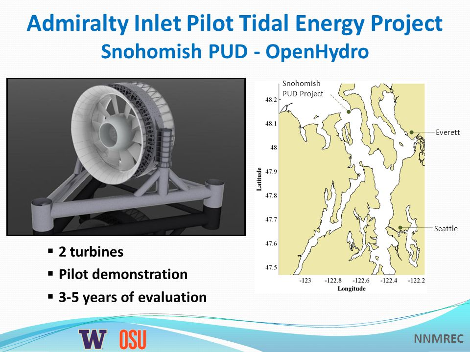NNMREC Tidal Energy Projects in Puget Sound Admiralty Inlet Turbine Installation Marrowstone Island Test Platform Construction Deception Pass Inactive Permit