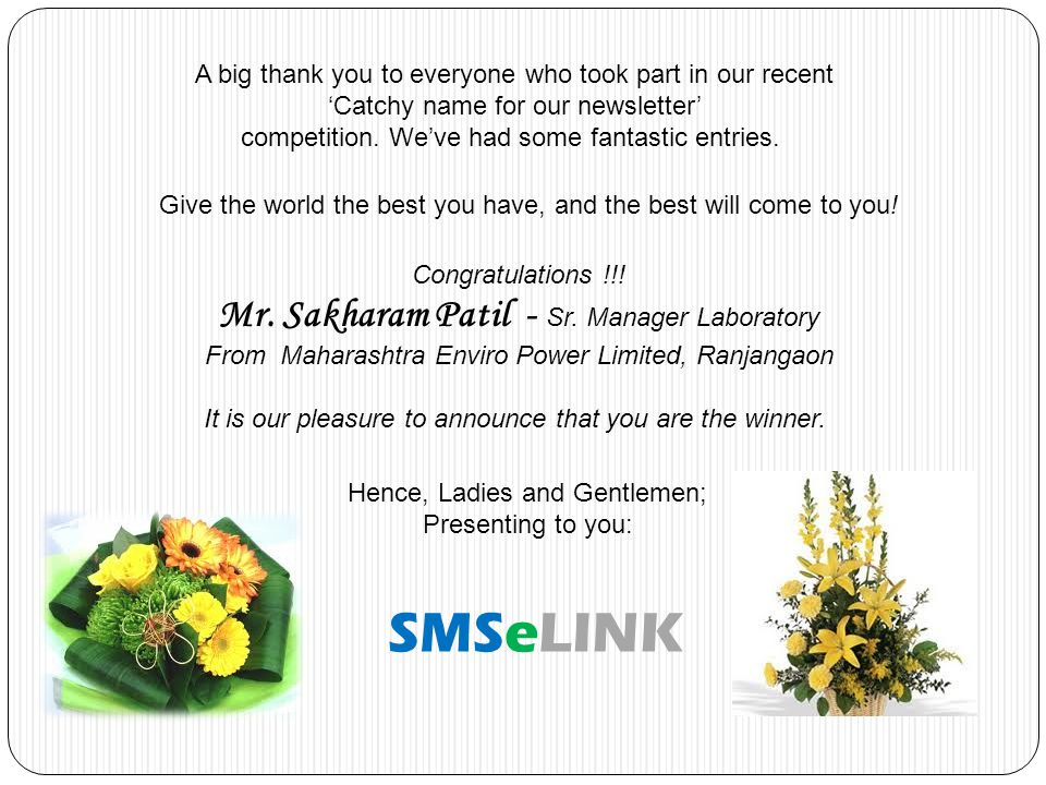 A big thank you to everyone who took part in our recent Catchy name for our newsletter competition. Weve had some fantastic entries. Hence, Ladies and