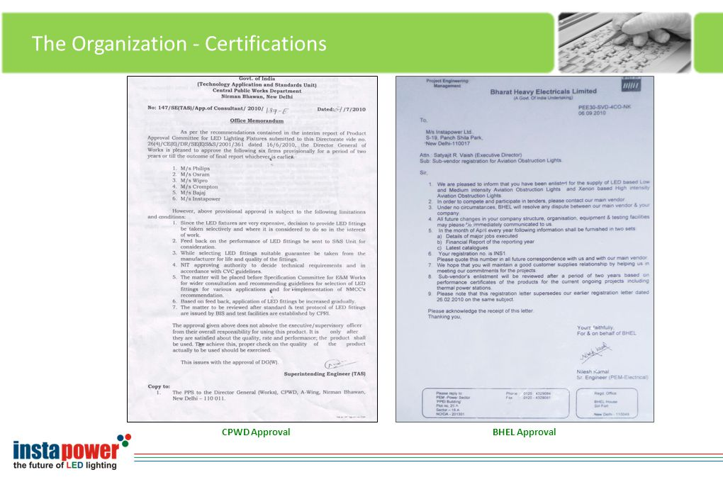 The Organization - Certifications BHEL ApprovalCPWD Approval