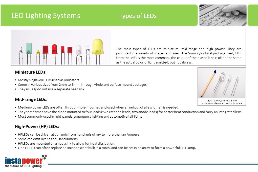 LED Lighting Systems Types of LEDs The main types of LEDs are miniature, mid-range and high power.