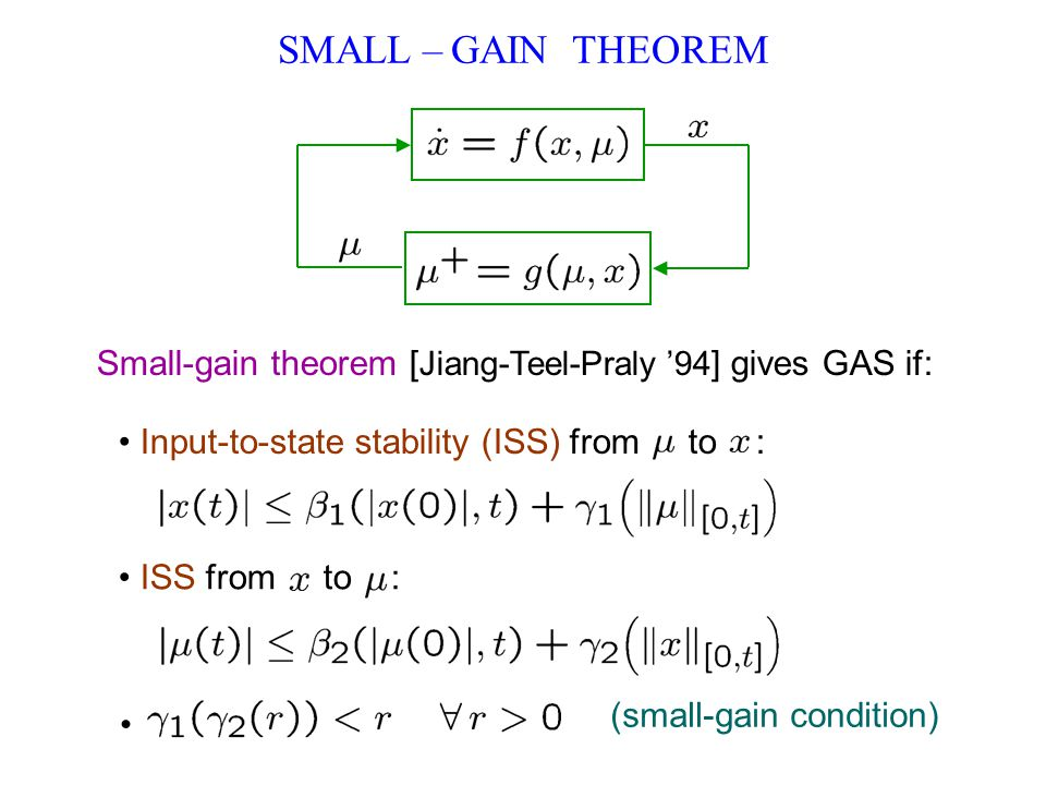 SMALL – GAIN THEOREM Small-gain theorem [ Jiang-Teel-Praly 94 ] gives GAS if: Input-to-state stability (ISS) from to : ISS from to : (small-gain condi