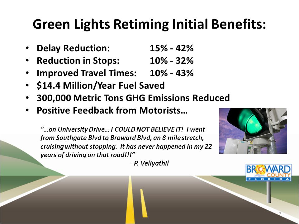 Green Lights Retiming Initial Benefits: Delay Reduction: 15% - 42% Reduction in Stops: 10% - 32% Improved Travel Times: 10% - 43% $14.4 Million/Year F