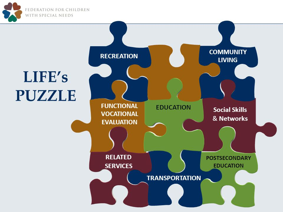 LIFEs PUZZLE EMPLOYMENT INSTRUCTION EDUCATION RELATED SERVICES RECREATION Social Skills & Networks TRANSPORTATION COMMUNITY LIVING POSTSECONDARY EDUCATION FUNCTIONAL VOCATIONAL EVALUATION