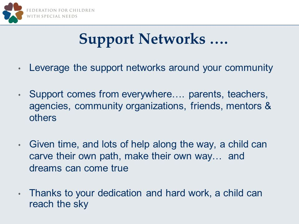 Support Networks ….