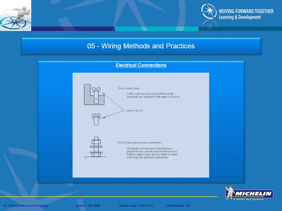 Presentation : IMS – Tech Managers ConferenceAuthor : IMS StaffCreation date : 08 March 2012Classification : D3Conservation :Page : # 05 - Wiring Methods and PracticesAuthor : IMS StafffCreation date : 1 Nov 2012Classification : D3 05 - Wiring Methods and Practices Conductors Sizes Conductors shall not be smaller than: Power circuits #14 AWG.