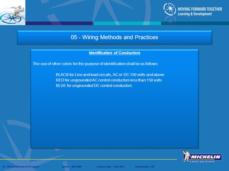 Presentation : IMS – Tech Managers ConferenceAuthor : IMS StaffCreation date : 08 March 2012Classification : D3Conservation :Page : # 05 - Wiring Methods and PracticesAuthor : IMS StafffCreation date : 1 Nov 2012Classification : D3 05 - Wiring Methods and Practices Identification of Conductors Conductors shall be identified at each termination by number, letter, color, and shall correspond with the technical documentation.