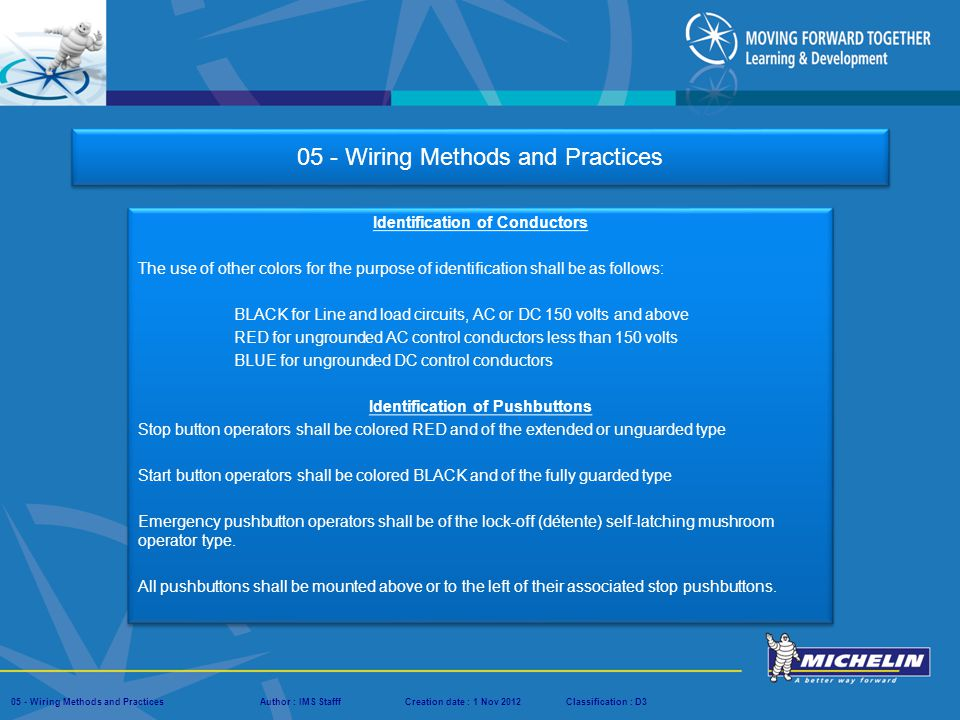 Presentation : IMS – Tech Managers ConferenceAuthor : IMS StaffCreation date : 08 March 2012Classification : D3Conservation :Page : # 05 - Wiring Methods and PracticesAuthor : IMS StafffCreation date : 1 Nov 2012Classification : D3 05 - Wiring Methods and Practices Identification of Conductors The use of other colors for the purpose of identification shall be as follows: BLACK for Line and load circuits, AC or DC 150 volts and above RED for ungrounded AC control conductors less than 150 volts BLUE for ungrounded DC control conductors Identification of Conductors The use of other colors for the purpose of identification shall be as follows: BLACK for Line and load circuits, AC or DC 150 volts and above RED for ungrounded AC control conductors less than 150 volts BLUE for ungrounded DC control conductors