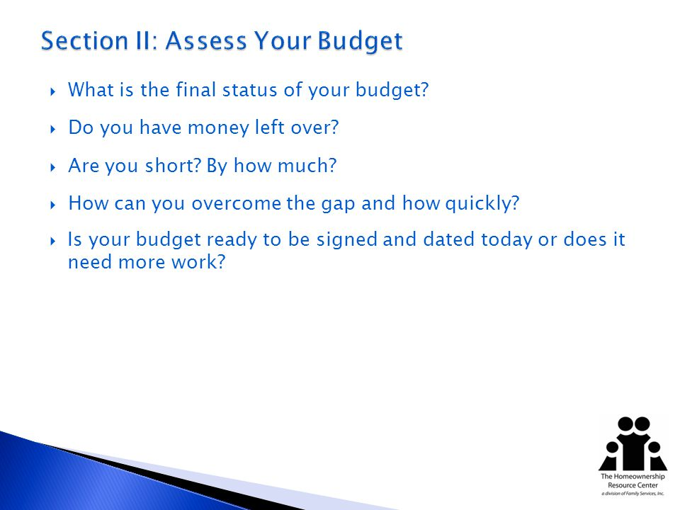 What is the final status of your budget. Do you have money left over.