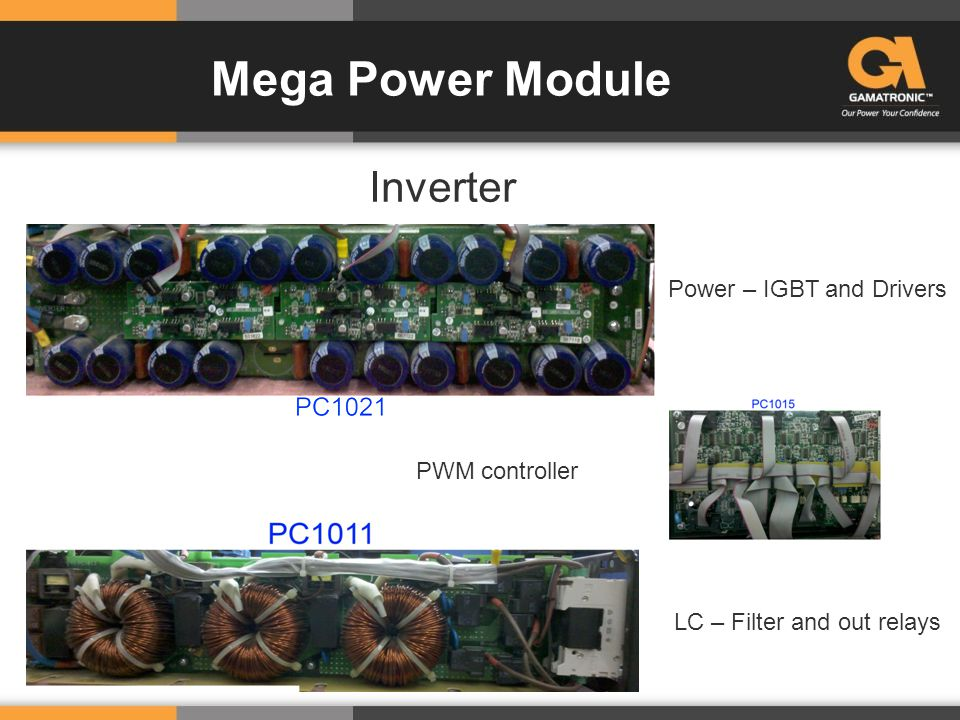 Mega Power Module Inverter Power – IGBT and Drivers LC – Filter and out relays PWM controller