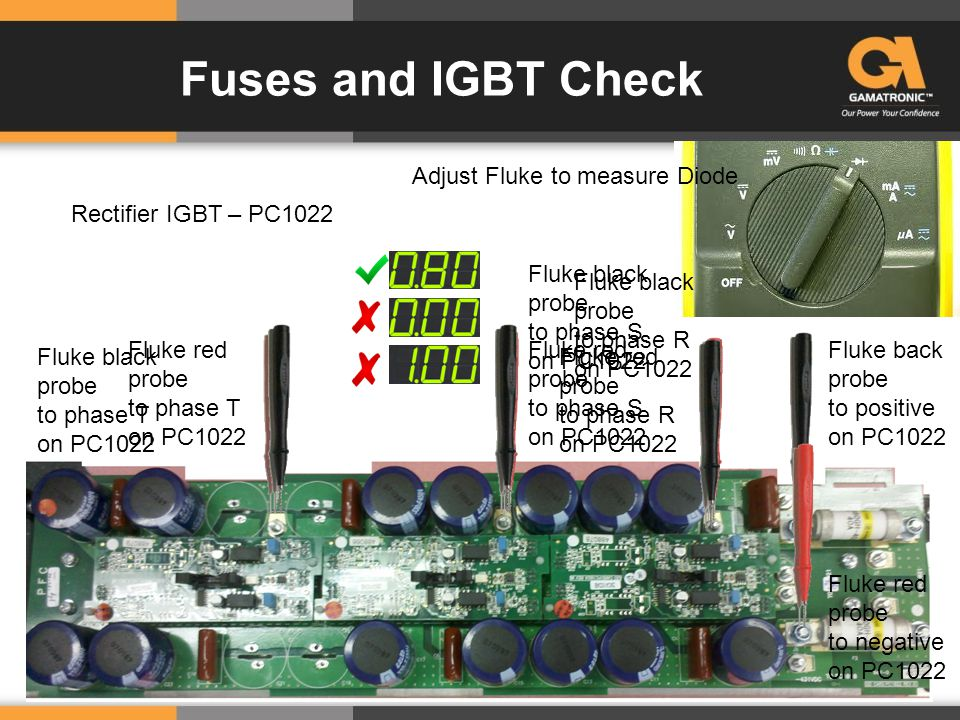 Fuses and IGBT Check Rectifier IGBT – PC1022 Adjust Fluke to measure Diode Fluke back probe to positive on PC1022 Fluke red probe to phase T on PC1022 Fluke red probe to phase S on PC1022 Fluke red probe to phase R on PC1022 Fluke red probe to negative on PC1022 Fluke black probe to phase T on PC1022 Fluke black probe to phase S on PC1022 Fluke black probe to phase R on PC1022