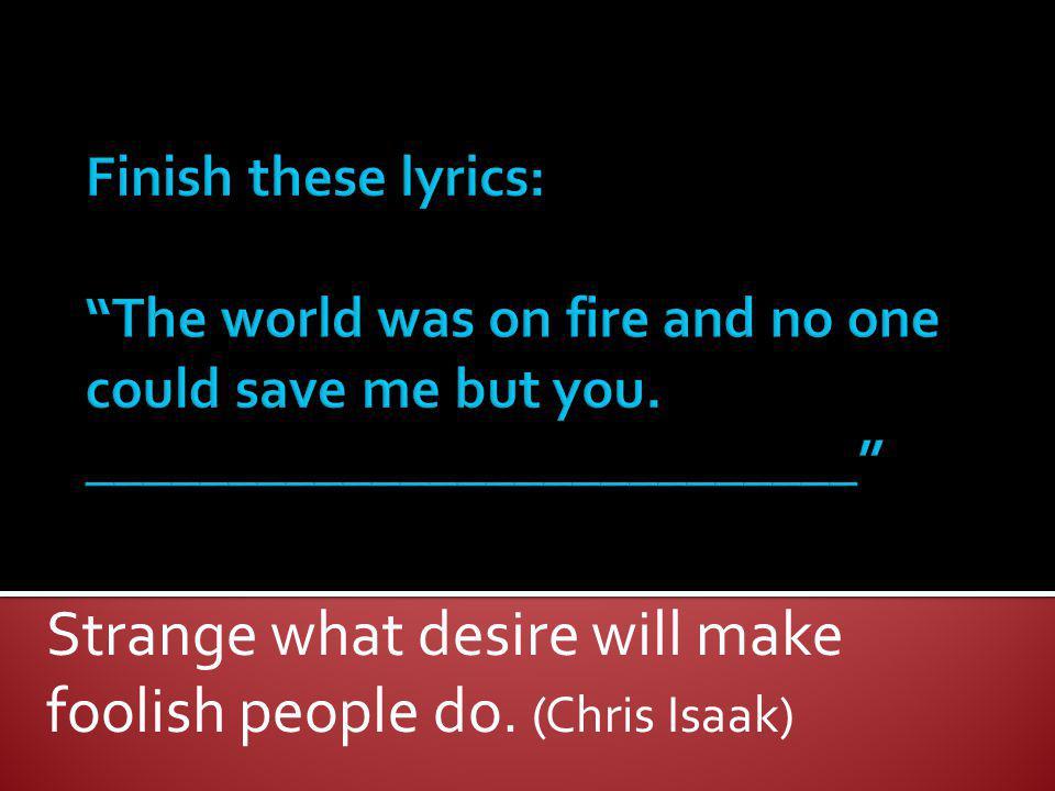 Strange what desire will make foolish people do. (Chris Isaak)