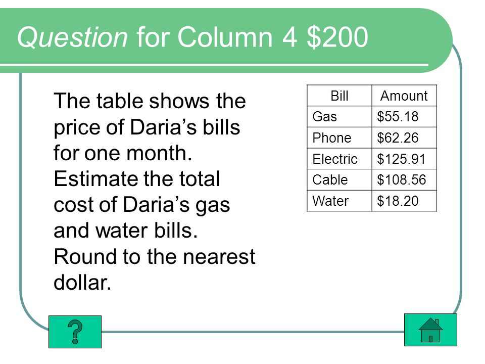 Question for Column 4 $200 The table shows the price of Darias bills for one month.