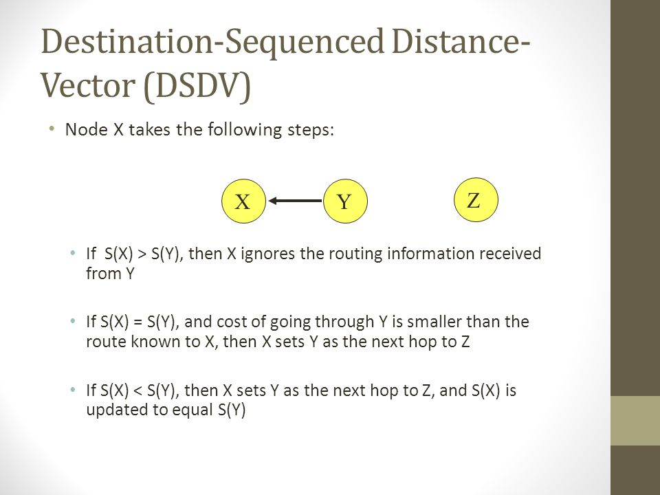Destination-Sequenced Distance- Vector (DSDV) Node X takes the following steps: If S(X) > S(Y), then X ignores the routing information received from Y