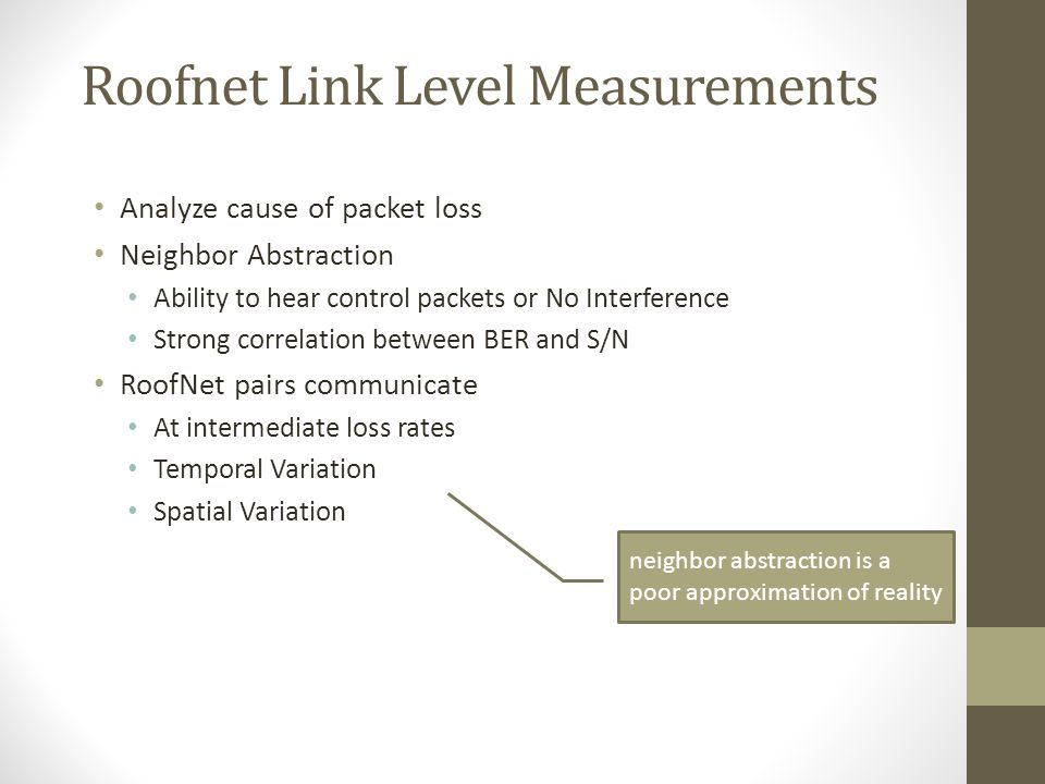Roofnet Link Level Measurements Analyze cause of packet loss Neighbor Abstraction Ability to hear control packets or No Interference Strong correlatio