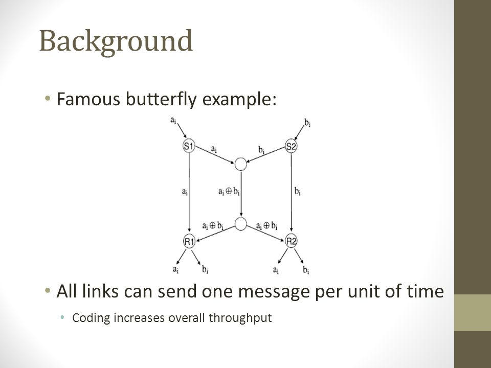 Background Famous butterfly example: All links can send one message per unit of time Coding increases overall throughput