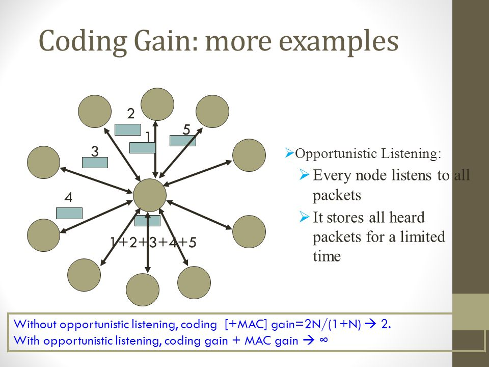 Coding Gain: more examples Without opportunistic listening, coding [+MAC] gain=2N/(1+N) 2. With opportunistic listening, coding gain + MAC gain 3 5 1+