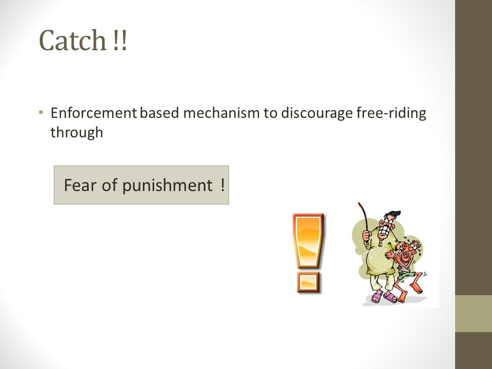 Catch !! Enforcement based mechanism to discourage free-riding through Fear of punishment !