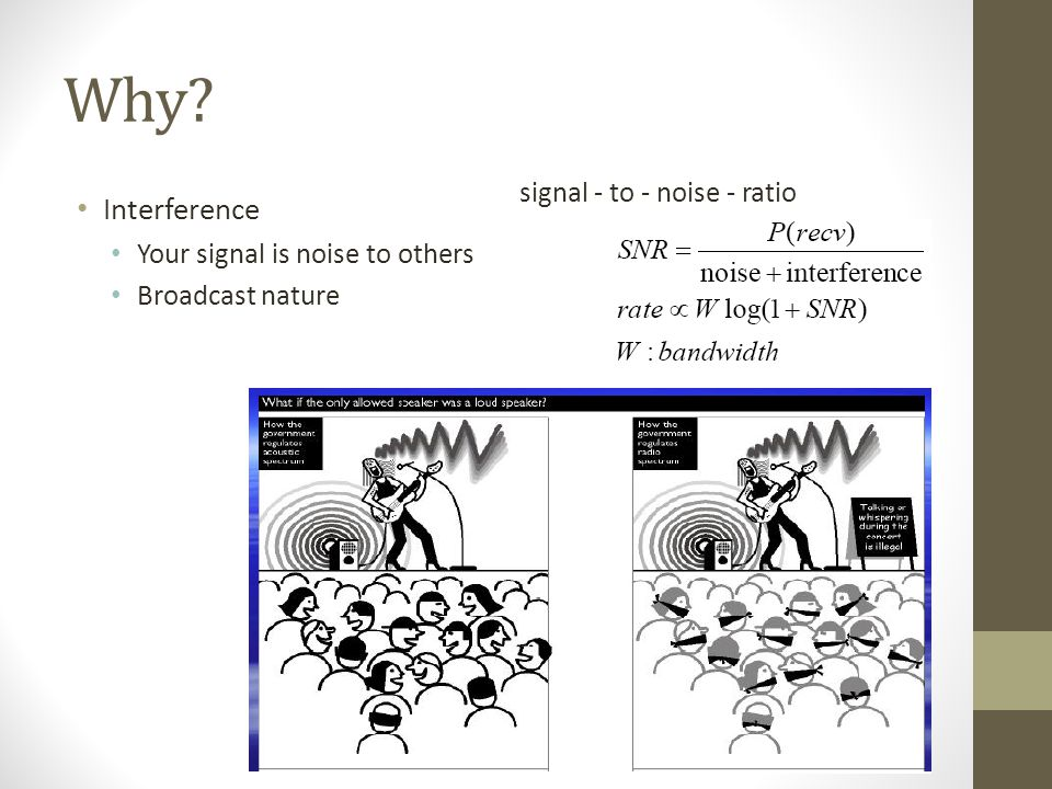 Why? Interference Your signal is noise to others Broadcast nature signal - to - noise - ratio