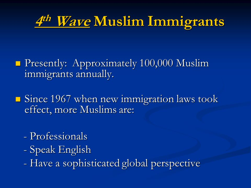 Foreign-born Muslims 65% Foreign-born Muslims 65% Native-born 35% Native-born 35% Percent of NB total who were converts to Islam: 21% Percent of NB total who were converts to Islam: 21% Those born into a Muslim family: 14% Those born into a Muslim family: 14% Foreign-born vs.