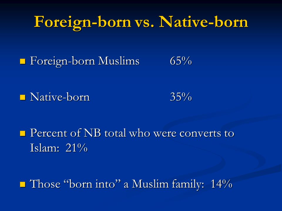 Foreign-born Muslims 65% Foreign-born Muslims 65% Native-born 35% Native-born 35% Percent of NB total who were converts to Islam: 21% Percent of NB total who were converts to Islam: 21% Those born into a Muslim family: 14% Those born into a Muslim family: 14% Foreign-born vs.