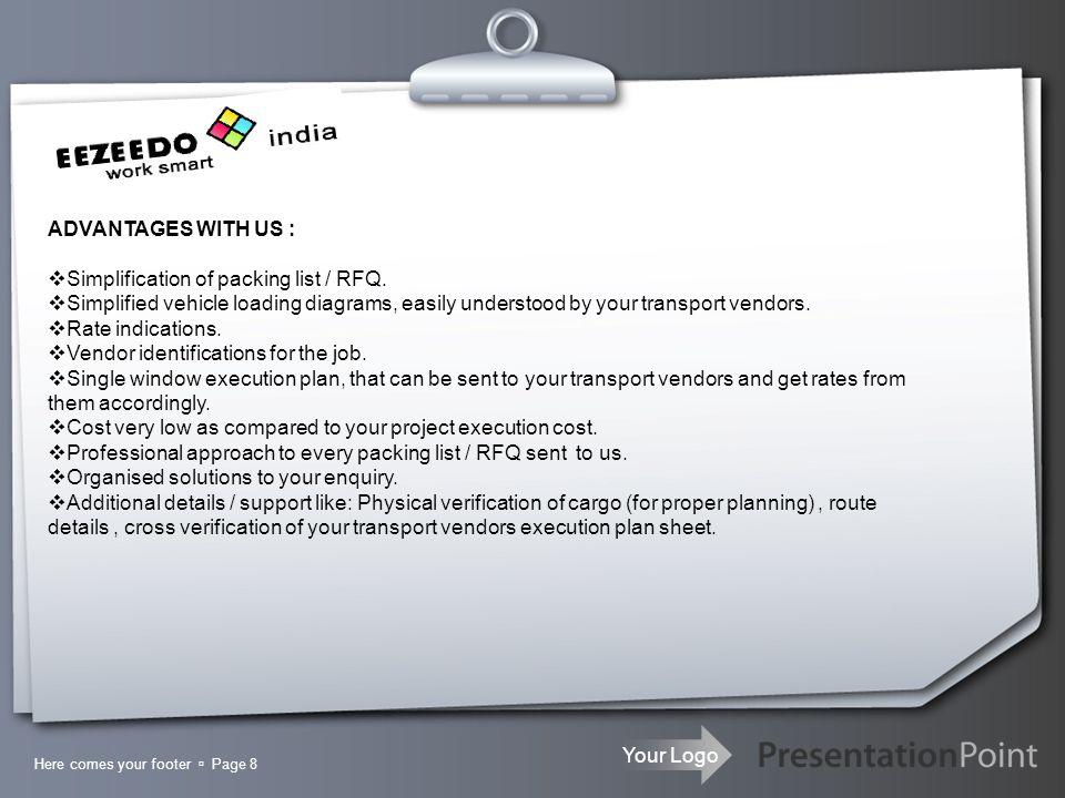 Your Logo EEZEEDO India Services Thanks you for going through the slides.