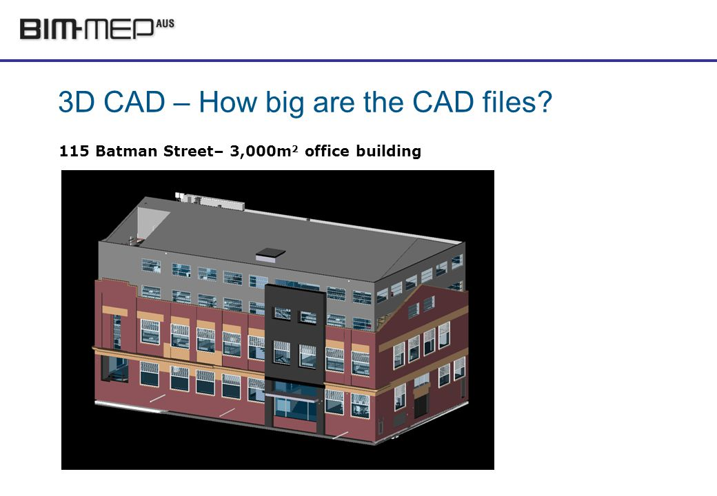 3D CAD – How big are the CAD files 115 Batman Street– 3,000m 2 office building