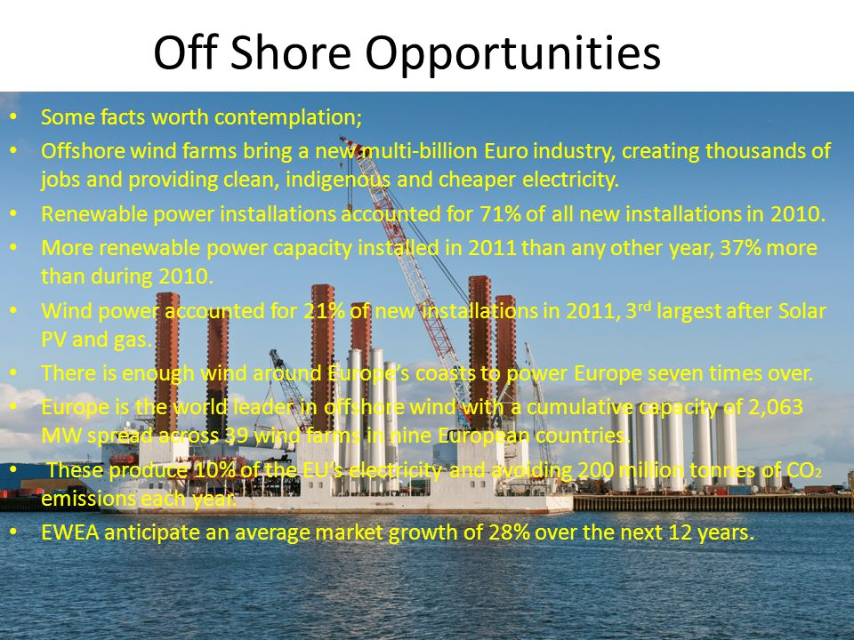 Off Shore Opportunities Some facts worth contemplation; Offshore wind farms bring a new multi-billion Euro industry, creating thousands of jobs and providing clean, indigenous and cheaper electricity.