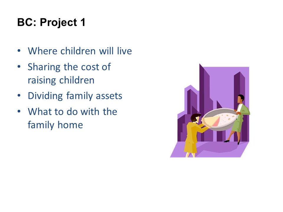 BC: Project 1 Where children will live Sharing the cost of raising children Dividing family assets What to do with the family home