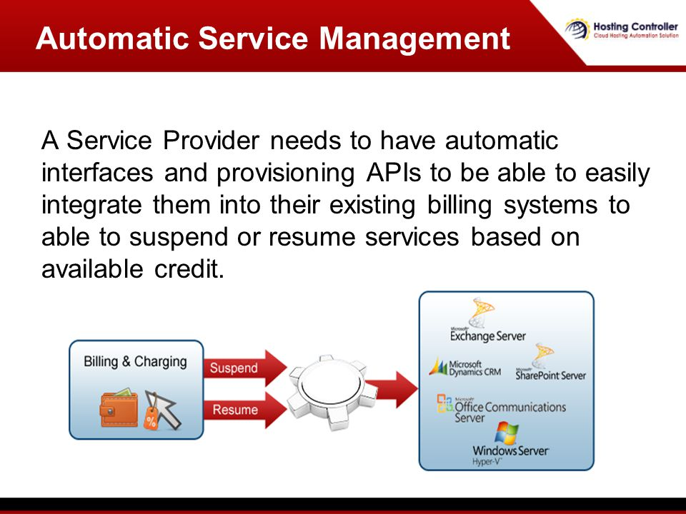 A Service Provider needs to have automatic interfaces and provisioning APIs to be able to easily integrate them into their existing billing systems to able to suspend or resume services based on available credit.