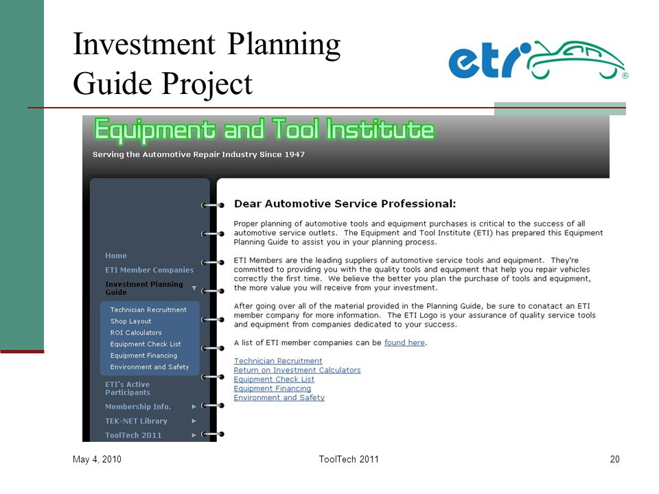 Investment Planning Guide Project May 4, 2010 ToolTech 201120