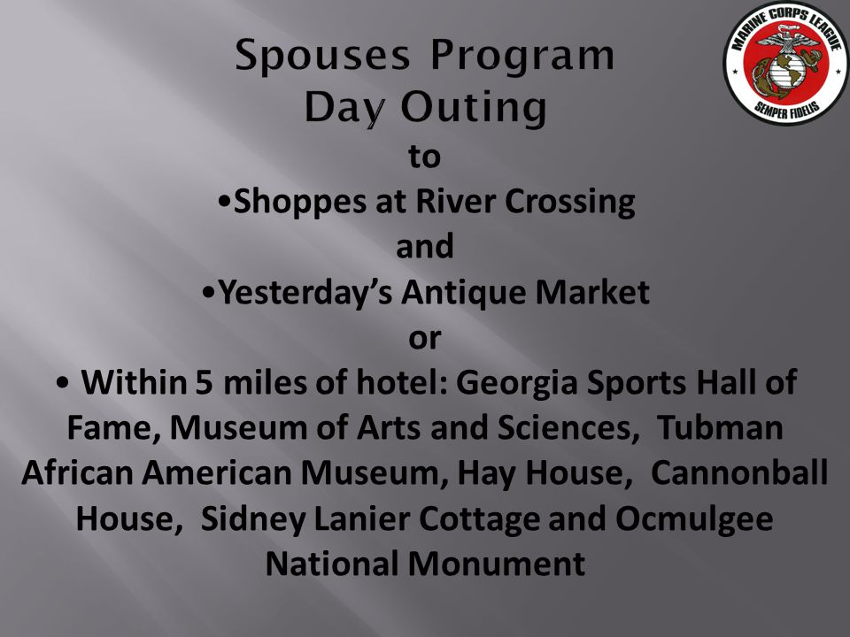 to Shoppes at River Crossing and Yesterdays Antique Market or Within 5 miles of hotel: Georgia Sports Hall of Fame, Museum of Arts and Sciences, Tubman African American Museum, Hay House, Cannonball House, Sidney Lanier Cottage and Ocmulgee National Monument